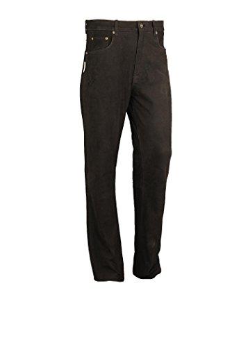 Jagd Lederhose Herren lang- Lange Lederhose Damen - Lederjeans- Echt Leder festem Nubuk - Lederhose Jeans 501 Olive- Motorrad Lederjeans