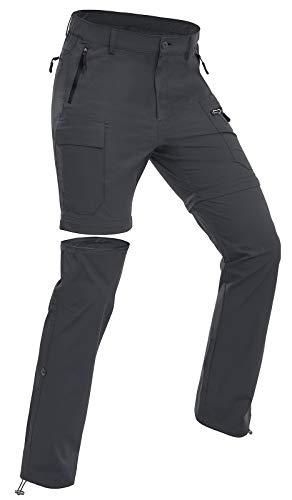 Wespornow Damen-Zip-Off-Wanderhose-Trekkinghose Atmungsaktiv Schnell Trockend Outdoorhose Abnehmbar Funktionshose Stretch Sommer Hosen (Grau, 2XL)