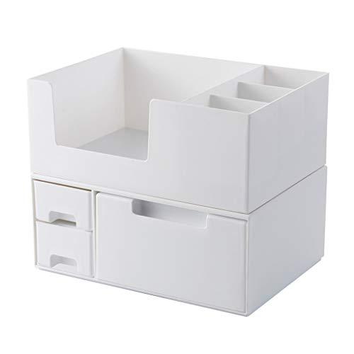 Sets et coffrets Tiroir de Rangement cosmétique avec Support de Maquillage Rangement de Bureau (Color : Blanc, Size : 24.2 * 17.2 * 19.4cm)