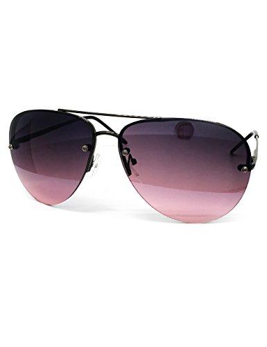 O2 Eyewear 3111 Tint Lenz Teardrop Rimless Metal Frame Womens Mens Aviator Sunglasses (Rimless, Dark Purple)