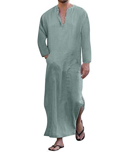 Jacansi Herren Thobe Saudi Arabische Kaftan Roben Muslim Dubai Indien Türkisch Lange Bluse Tops 02 Grün DE 42