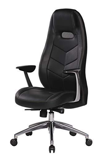 AMSTYLE, Bürostuhl, Bari, schwarz Echt-Leder Design Schreibtischstuhl Armlehne Chefsessel höhenverstellbar 120KG