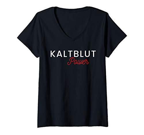 Damen Kaltblut Power Pferde Power Kaltblut Pferdebesitzer Reiter T-Shirt mit V-Ausschnitt