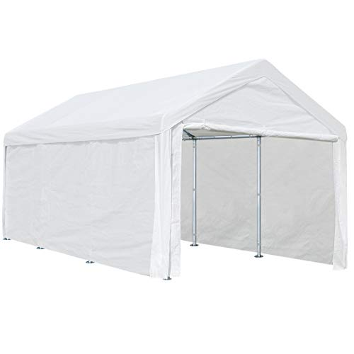 ADVANCE OUTDOOR 10x20 ft Heavy Duty Carport Car Canopy Garage Shelter Boat Party Tent, Adjustable Heights from 6.5ft to 8.0ft, Removable Sidewalls and Doors, White