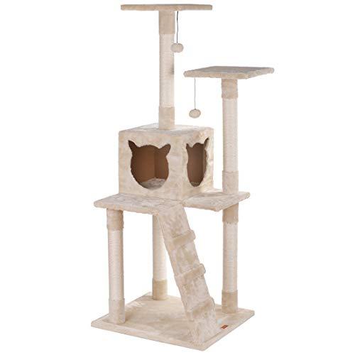 LUCKY MARKET キャットタワー 猫タワー 爪とぎ 天然サイザル麻紐 据え置き 大型猫 子猫 ネコタワー すべての年齢の猫に適しています 安全で安定して使用できます 安定性抜群 組立簡単 多頭飼い スペースを取らない 高さ136cm(ベージュ)