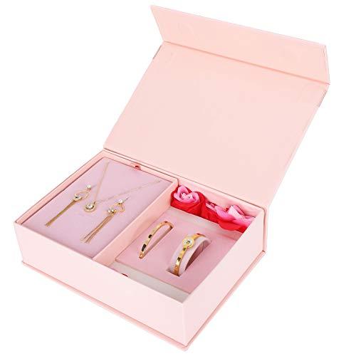 Juego de joyas para mujer, hermoso juego de joyas con caja de regalo con brillos alérgicos bajos, acero de titanio para bodas y novias