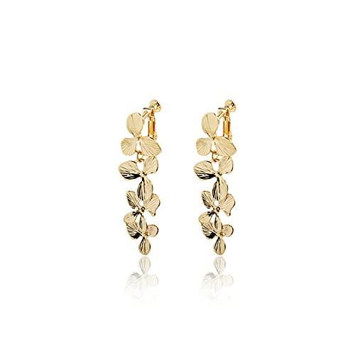 Pendientes largos de metal vintage para mujer con hoja de oro S925 Pendientes de aguja de plata La cara redonda se ve delgada A