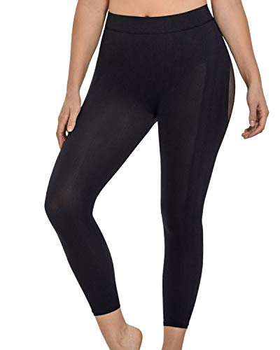 Leonisa Invisible postsurgical Legs and Butt Footless Compression Shaper Capri for Women Waist to Thigh Shapewear Black
