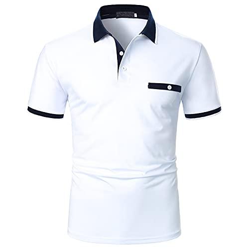 Polo para hombre, camisa de negocios, camisa de manga corta, cuello redondo, corte ajustado, elástico, monocolor, para verano, deporte, tenis, golf, cuello en V Blanco_8 L