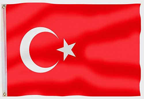 aricona Türkei Flagge - Türkische Nationalflagge 90 x 150 cm mit Messing-Ösen - Wetterfeste Fahne für Fahnenmast - 100% Polyester
