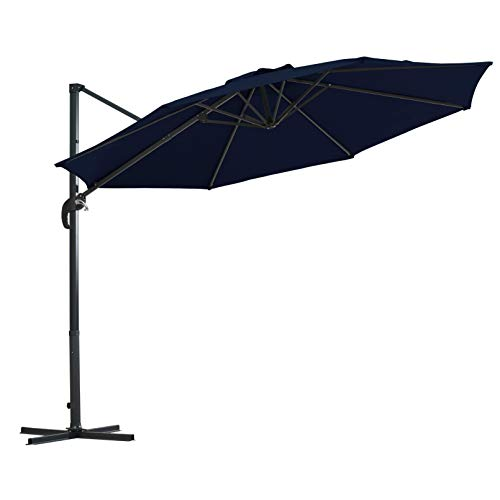 AmazonBasics Adjustable Patio Hanging Umbrella with Cantilever and Steel Frame - 10 Foot, Navy Blue