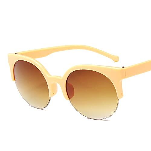 Moda Gafas De Sol De Ojo De Gato para Mujer, A La Moda, para Mujer, Gafas De Sol Vintage para Mujer, Círculo Redondo, Sexy, Retro, Uv400, Amarillo