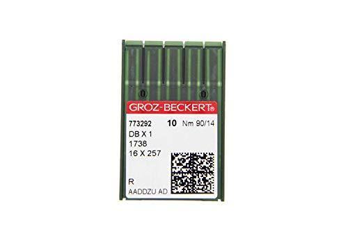 GROZ-BECKERT Paquete de 10 agujas DBx1 con pistón redondo y punta redonda para máquinas de coser industriales (Nm. 90/14)
