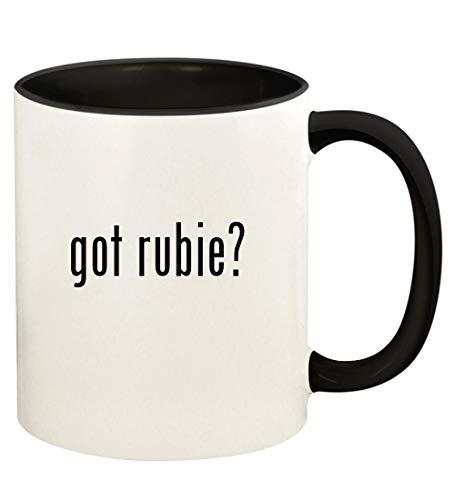 got rubie? - 11oz Ceramic Colored Handle and Inside Coffee Mug Cup, Black