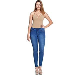 Women's Super Comfy Basic Low Rise Skinny Jeans with Comfort Stretch