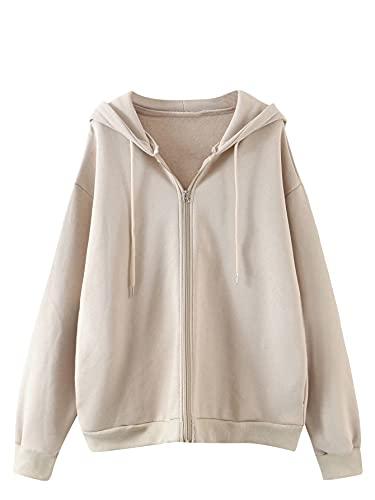 MakeMeChic Women's Zip Up Long Sleeve Drawstring Hoodie Hooded Sweatshirt Apricot L