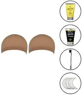 2 Pack Natural Nude Beige Wig Caps (Including Got 2b Ultra Glued Invincible Styling Gel 1.25 oz, Got2b Glued Styling Spiking Glue 1.25 oz, Double Sided Edge Control Brush & Jumbo Weaving Needles)