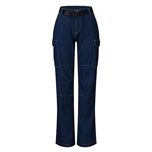 Pantalons Jeans Troué Femme Chic, YUYOUG Femmes Lady Fashion Poche à GlissièRe Pantalon Taille Haute Jeans Pantalon Pantalon Droit