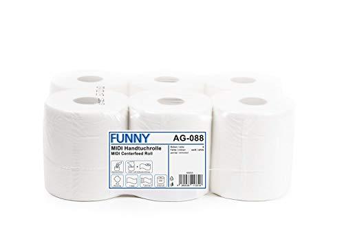 Funny AG-088 Asciugamani Arrotolati, 1 Strato, Bianco, 19cm, Confezioni da 6