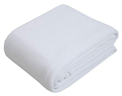 100% Cotton Thermal Blanket - Full / Queen - White -...