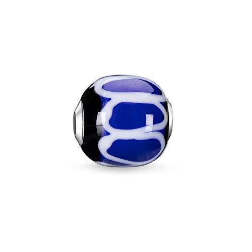 Thomas Sabo Women Men-Bead Karma Beads 925 Sterling silver Glass black white blue K0251-017-1