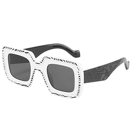 Gafas De Sol Hombre Mujeres Ciclismo Gafas De Sol Cuadradas para Hombre, Montura De Patrón Retro, Gafas De Sol para Mujer, Anteojos De Piernas Anchas, Color Blanco