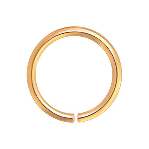 AZARIO LONDON 14K Solid Rose Gold 18 Gauge - 8MM Diameter Seamless Continuous Open Hoop Nose Ring Piercing Jewellery