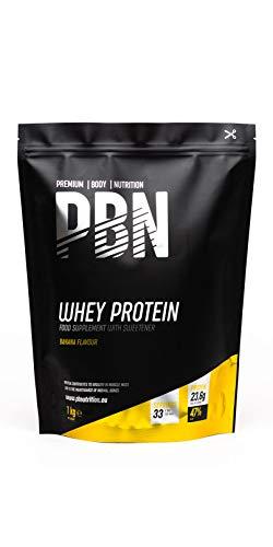 PBN - Paquete de proteína de suero de leche en polvo, 1 kg (sabor plátano) Cada ración contiene 23.6g de proteína Ingredientes de excelente calidad Apto para vegetarianos Raciones por envase: 33