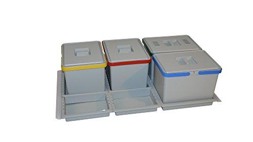 ELLETIPI Metropolis PTC28090509F C10PPV Cubos de la Basura para Reciclaje de cajón, Gris, 81x 46x 28cm