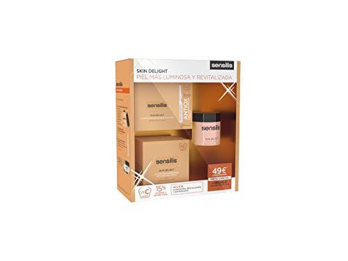 Sensilis Skin Delight - Kit de Belleza con Vitamina C - Crema de Día (50 ml) + Peeling facial (75 ml) + Ampollas Iluminadoras (15 x 1,5 ml)
