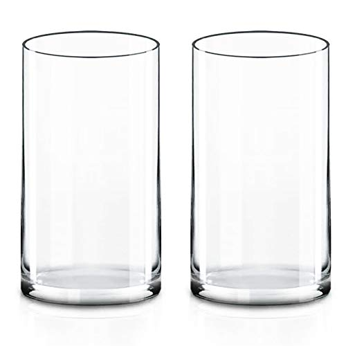 """CYS EXCEL Cylinder Clear Glass Vase (H:12"""" D:6"""")(Pack of 2) 