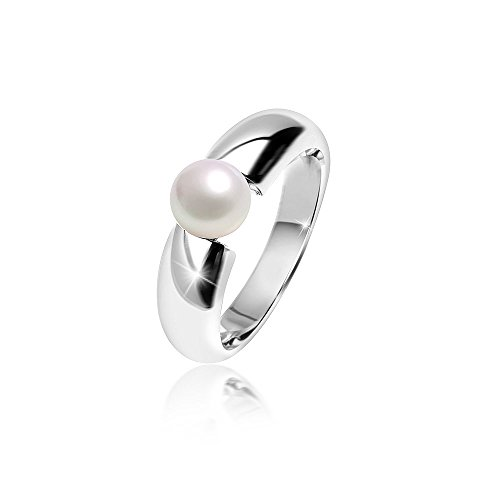MATERIA Damen Ring Solitär 925 Silber mit Perle weiß rhodiniert inklusive Ringbox #SR-98, Ringgrößen:57 (18.1 mm Ø)
