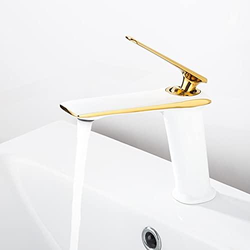 Grifos Para Fregadero Roca grifos para lavaderos de pared Grifos de lavabo de baño de una manija grifo de lavabo mezclador frío / caliente grifo de cocina de agua negra / blanca accesorios de baño