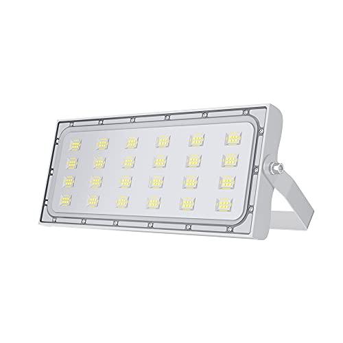 100W Focos LED Exterior, Proyector Led Alto Brillo 10000LM, Impermeable IP65 Floodlight lluminación de Seguridad 6000K Blanco Frío Aplique Exteriores Lampara para Jardín Garaje Patio Camino Almacén