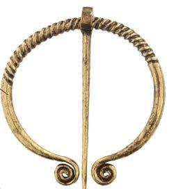 p Keltische Fibel Gewandnadel,6 cm,Bronze vergoldet, Typ Random