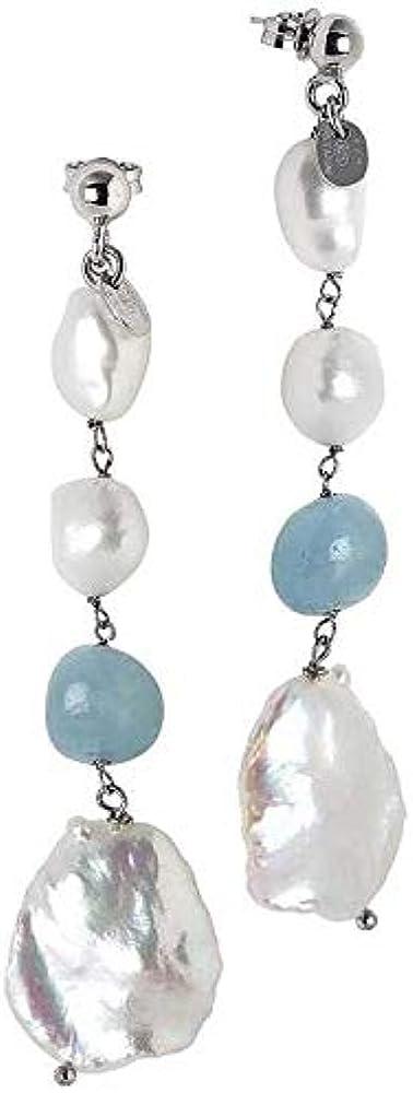 Boccadamo, orecchini per donna, in argento 925 rodiati con perle scaramazze e acquamarina OR771