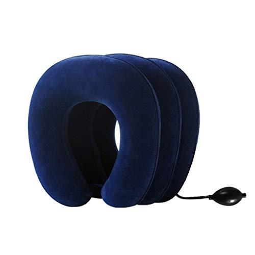Almohada en Forma de U de Tres Capas de Dispositivo de tracción Cervical Inflable Soporte para el Cuello Viaje en el hogar Coche en Forma de U (Color : Blue)