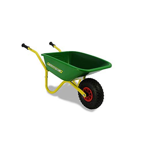BERG Kinder-Schubkarre, Für Kinder ab 3 Jahren, Belastbar bis  bis 25 kg, Metallrahmen/Kunststoffwanne, Dempy, Grün/Gelb