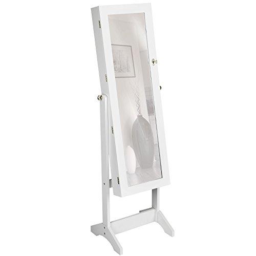 TecTake Spiegelschmuckschrank mit extra großem Spiegel - Diverse Farben - (Weiß | Nr. 400764)