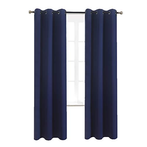 Aquazolax Bedroom Blackout Window Curtain Panels Grommets Blackout Curtains 42x84 Plain Window...