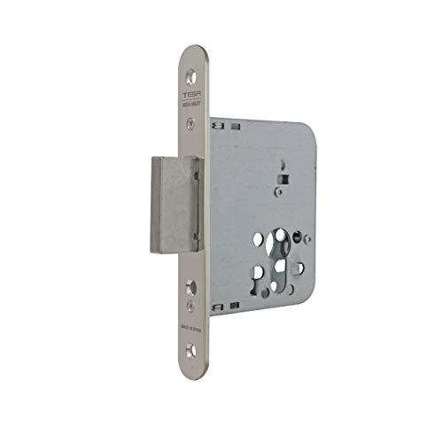 Tesa Assa Abloy 40315RHN Cerradura De Embutir Para Puertas De Madera Sin Cilindro Niquelado Entrada 50 mm, Frente Redondo 4031