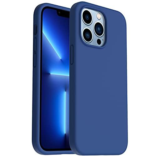 """ORNARTO Cover in Silicone Liquido Compatibile con iPhone 13 Pro Custodia 6,1"""", Protezione in Gomma Gel per Tutto il Corpo Protettiva Antiurto Rinforzato con Fodera in Microfibra, 6,1-Blu Reale"""