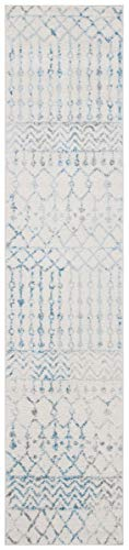 Safavieh Tulum Collection TUL270B Boho Moroccan Distressed Runner, 2' x 9', Ivory/Turquoise