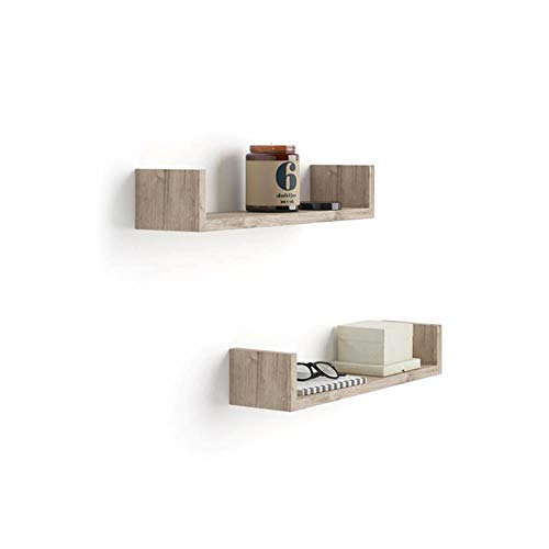 Mobili Fiver, Par de estantes en U, Modelo Iacopo, de MDF, Color Roble Natural, 50 x 12 x 9 cm