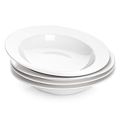 DOWAN Soup Bowls, Pasta Bowls Plates, White Salad Bowls Set of 4, Porcelain Wide Rim Bowls, 20 Ounces, Microwave & Dishwasher Safe