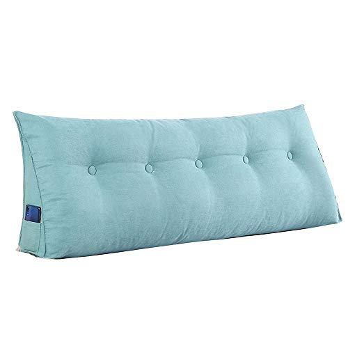 Cojín triangular de doble cabeza, cojín lumbar para sofá, cojín de color sólido, respaldo grande, extraíble y lavable (color: azul, tamaño: 100 x 50 x 20 cm)