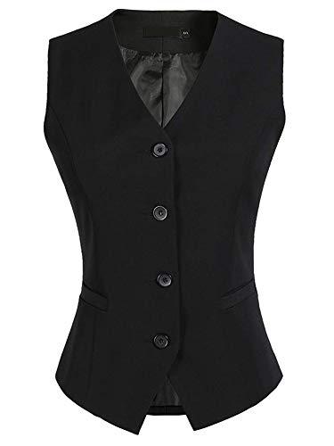 CYSTYLE Damen Weste Anzug Weste Anzugweste Kellnerweste Freizeitweste Slim fit(Schwarz, EU XL=Asia 4XL)