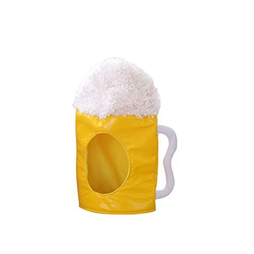 Amosfun Taza de Cerveza Sombrero de Peluche Sombrero de Cerveza Cabeza de máscara Máscara Cosplay Accesorio Regalo de cumpleaños Día de San Patricio Suministros