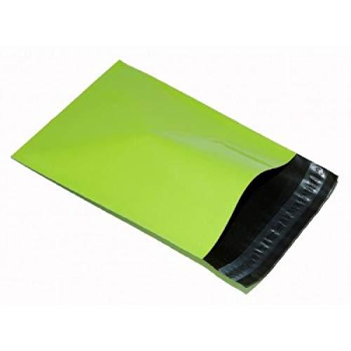 REALPACK - 100 bolsas para envío de plástico, color verde neón, 305mm x 406mm (+ 40mm borde)
