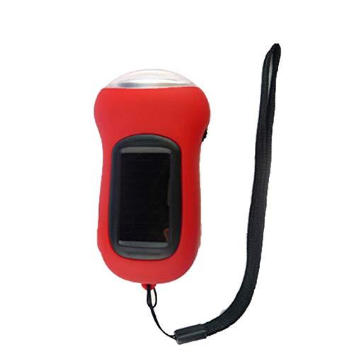 SeniorMar Lampe de poche à main rechargeable multifonctionnelle à l'extérieur portable LED Lampe de poche à manivelle à énergie solaire